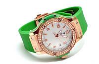 Часы наручные женские Hublot with diamonds Зеленые