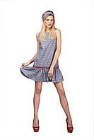Модный короткий женский сарафан с рюшей