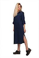 Модное женское прямое платье-рубашка за колено льняное   Синее
