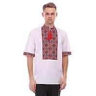 Мужская рубашка с коротким рукавом домотканое полотно