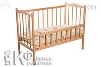 Кроватка детская КФ колеса + качалка + откидывающая спинка.