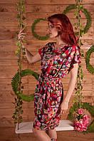 Женское летнее платье с резинкой на талии, с напуском, с карманами из ниагара принт. Для большой груди.