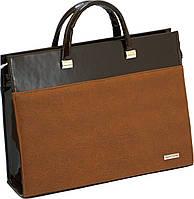 Женская сумка-портфель  для документов, ноутбука, янтарная,  Corrado Martino.