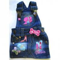 MonkeyDaze БАРБИ (Barbie Denim Overall Dress) котоновый комбез, одежда для собак, котон | M