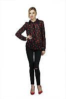 Качественная черная шифоновая женская блуза с длинным рукавом