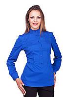 Женская стильная приталенная блуза на пуговицах цвета индиго