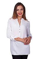 Нарядная женская летняя белая блуза с кружевными вставками
