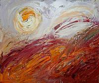 Картина абстракция маслом «Закат», фото 1