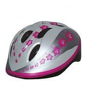 Детский велосипедный шлем для девочки (Италия) Bellelli (розовый с цветочками)