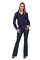 Женские качественные синие джинсы-клеш от колена | Украина