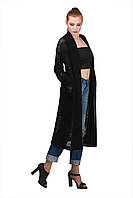 Женский длинный вязаный полупрозрачный кардиган с поясом | Черный