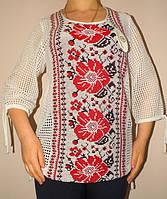 Летняя женская кофта с большими цветами 680