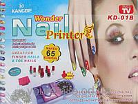 Машинка-принтер для нанесения рисунков на ногти (7 флаконов лака, 5 матриц с рисунками) Wonder Nail Printer