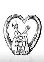 Статуэтка керамическая глянцевая посеребреная Влюбленные зайцы в сердце.