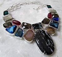 Интересное колье, ожерелье из натурального камня - ЯШМА, АГАТ, РАУХТОПАЗ