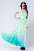 Платье в пол с ажурными вставками из гипюра и поясом с бантиком