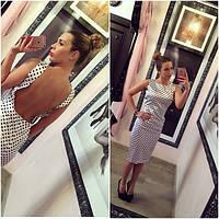 Платье модное миди в горошек с открытой спиной SMANG199