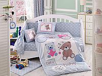 Комплект детского постельного белья Ponpon (Голубой), Hobby