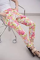 Женские летние укороченные брюки с цветочным принтом