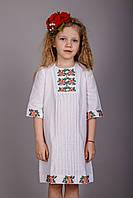 Модное вышитое платье для девочки, с сумочкой
