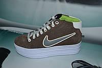 Женские повседневные кроссовки NIKE  Air коричневые с белым