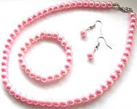 Набор под жемчуг розовый (серьги+бусы+браслет)