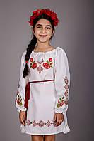 Стильное вышитое платье для девочки с оригинальным узором, с поясом