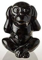 Статуэтка керамическая глянцевая Обезьяна черная маленькая.