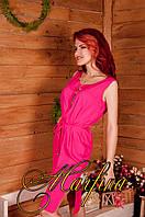 Малиновое однотонное льняное летнее платье миди ,с разрезами, под пояс