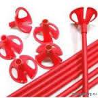 Палочки для шариков фольгированных + насадки Красные, 50 шт (40 см)