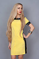 Яркое молодёжное платье с вставками из эко кожи