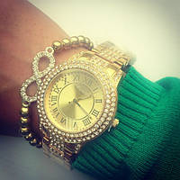 Женские часы под золото в стразах CHOPARD