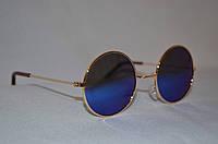 Солнцезащитные очки детские круглые Хамелеон голубой