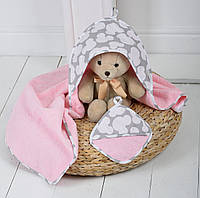 """Детское махровое полотенце с уголком """"Минни"""" для купания малышей (розовый)"""