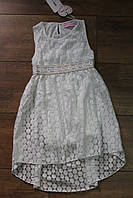Кружевное платье для девочек 4-6-8 лет Цвет:персиковый,белый,лимонный