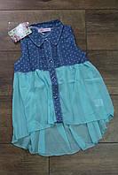 Платье для девочек (джинс+шифон) 8 лет Цвет:белый,бирюзовый, персиковый