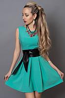 Молодежное платье голубая бирюза с кожаным поясом