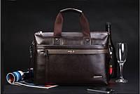 Деловой кожаный портфель Polo. Сумка для делового мужчины. Лучший подарок. Недорогой портфель. Код: КН35