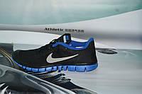Мужские повседневные кроссовки NIKE Free Run 3.0  черные с синим