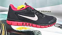 Мужские повседневные кроссовки NIKE Free Run 3.0  черные с красным