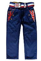 Детские полосатые брюки с ремнем; 104, 128 размер