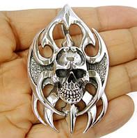 Серебряный кулон Череп, подвеска с черепом серебро байкерский