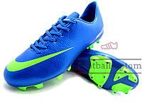 Бутсы (копы) Nike Mercurial (Синий,салатовый)