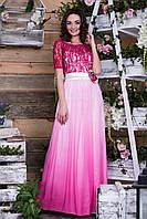 Выпускное платье градиент-малинового  цвета с атласным поясом