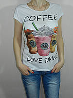 Футболка белая женская Coffee размер M, L, XL Karteks Турция