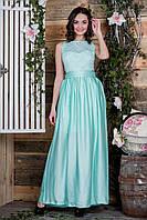 Выпускное  платье цвета мяты с гипюровым верхом и атлас-шифоновой юбкой