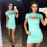 Платье модное яркое мини с декоративным вырезом на груди разные цвета SMPETR201