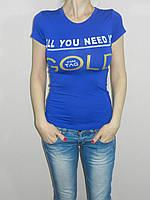 Короткая футболка стрейч синяя Gold Турция