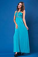 Выпускное бирюзовое  платье   в пол шлейки и пояс украшены камнями  и жемчугом