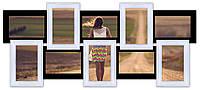Деревянная мультирамка на 10 фото История 10, черно-белая